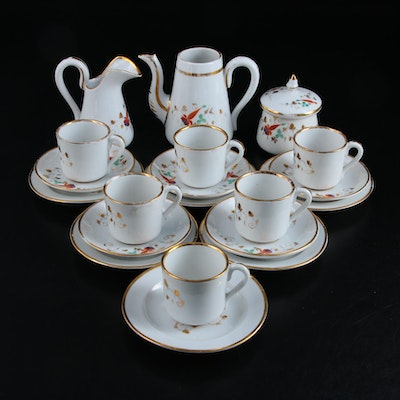 European Hand-Painted Porcelain Child's Tea Set, Late 19th to Early 20th Century