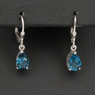 Sterling Silver Topaz Drop Earrings