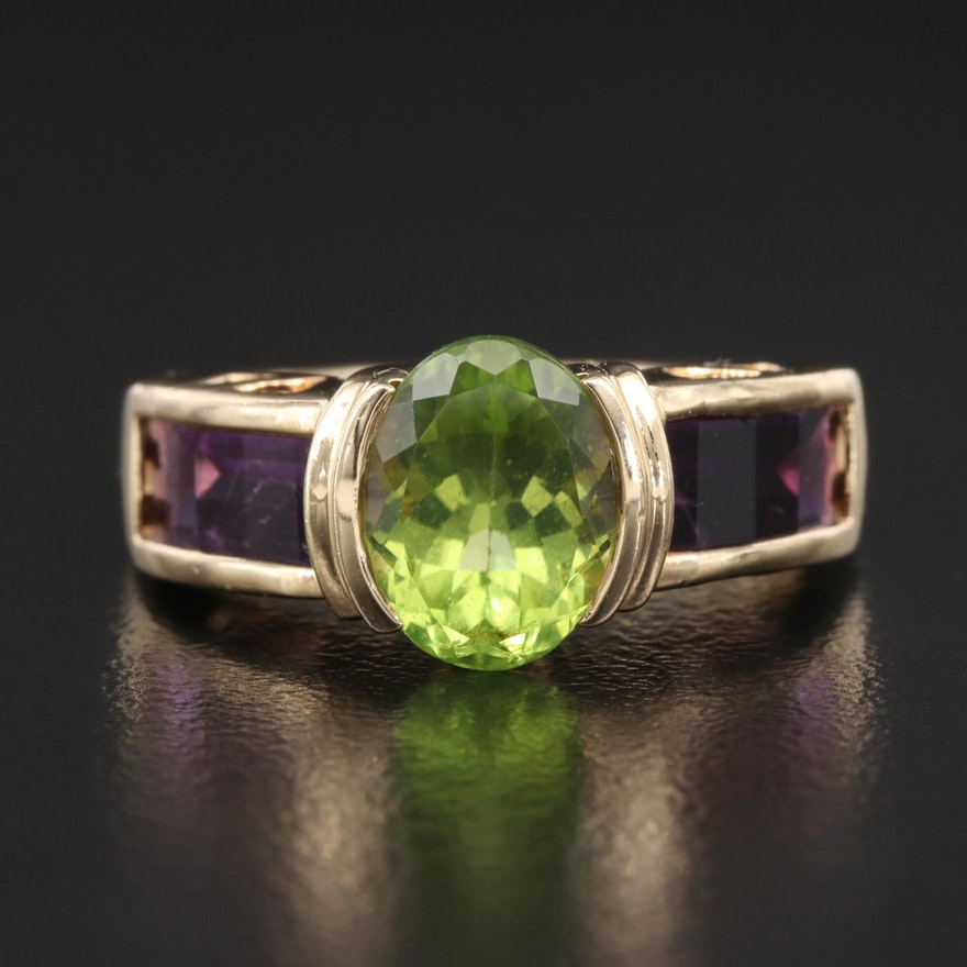 14K Peridot and Amethyst Semi Bezel Ring