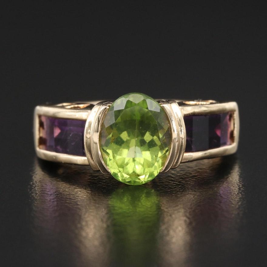 14K Peridot and Amethyst Semi Bezel Ring
