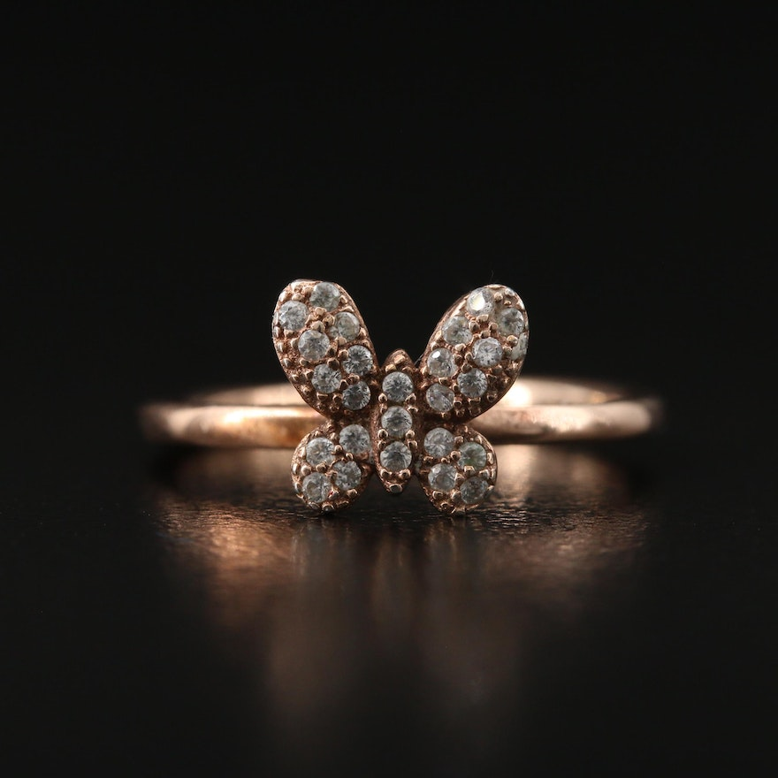 Sterling Butterfly Ring with Cubic Zirconia