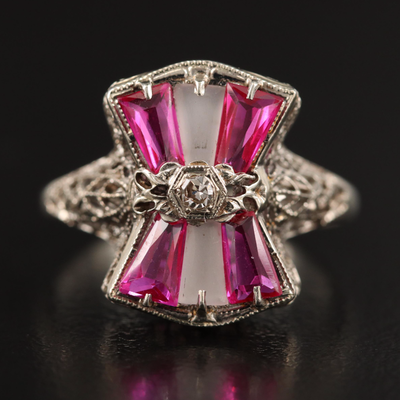 1930s 14K Diamond, Ruby and Rock Quartz Crystal Openwork Ring
