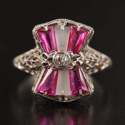 1930s 14K Diamond, Ruby and Rock Quartz Crystal Openwork Ring