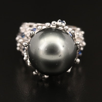 14K Pearl and Sapphire Ring