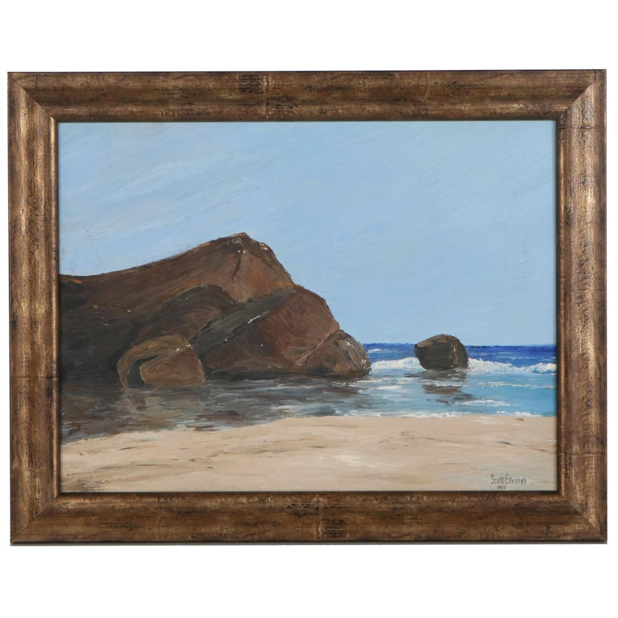 Scott Edwards Coastal Landscape Oil Painting, 1987