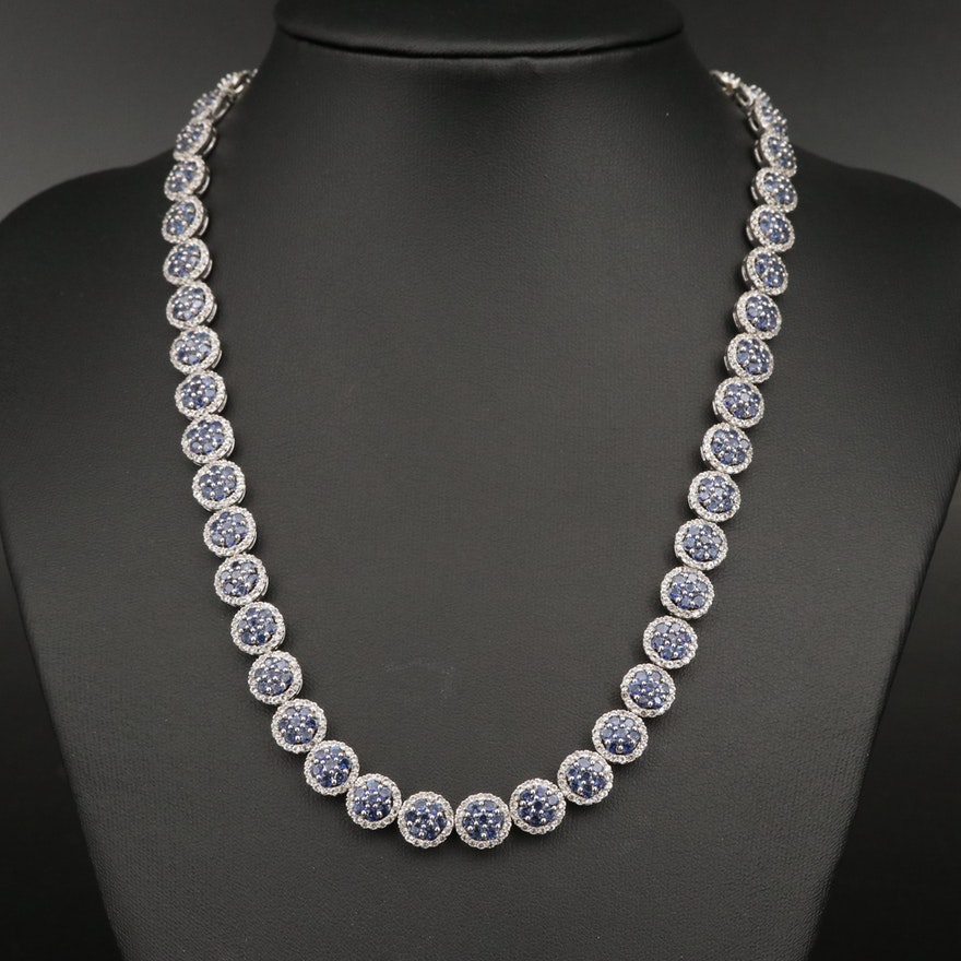 Sterling Silver Tanzanite and Topaz Collar Necklace