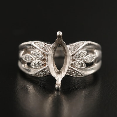 14K Diamond Marquise Semi-Mount Ring