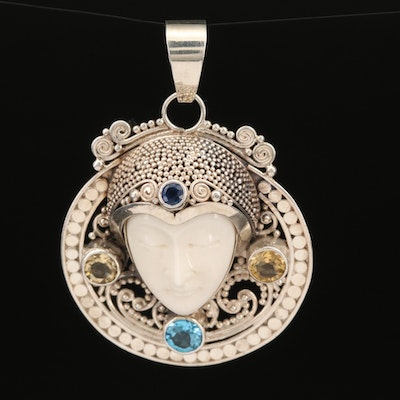 Sterling Silver Bone, Topaz and Sapphire Goddess Pendant