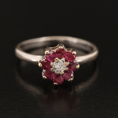 14K Floral Themed Diamond and Ruby Ring