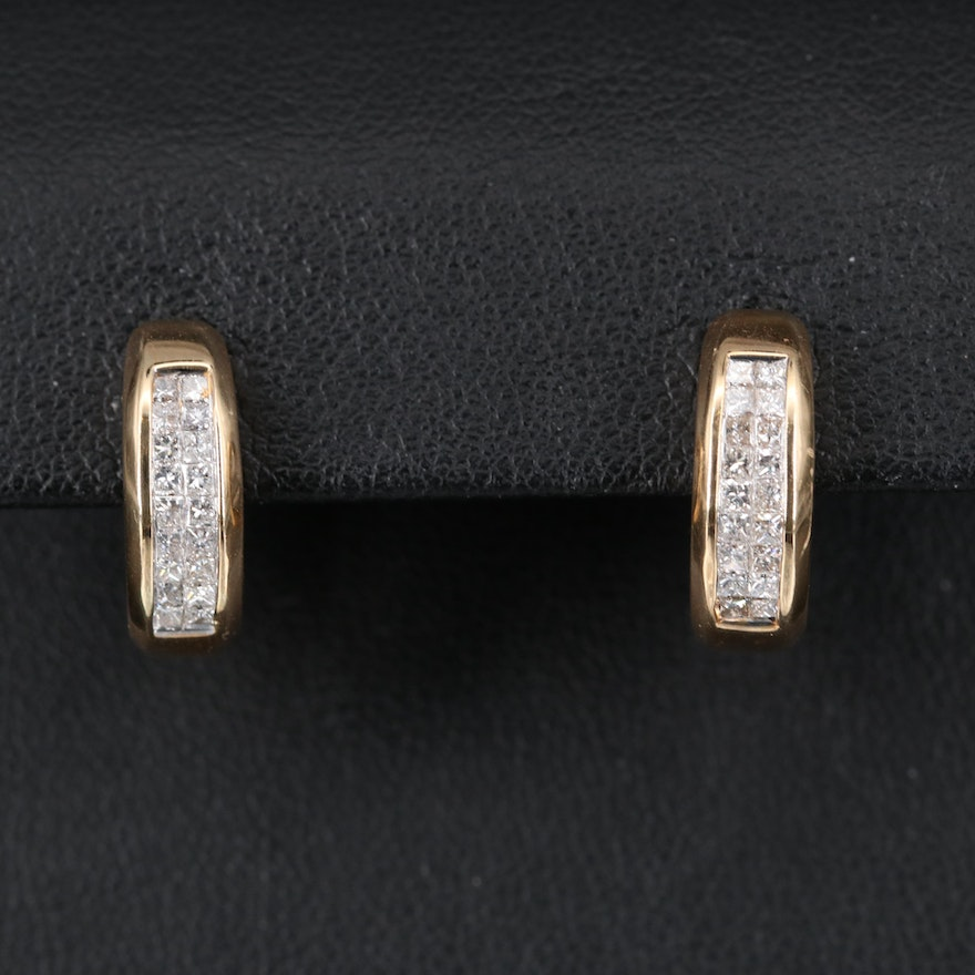 14K Diamond Huggie Earrings