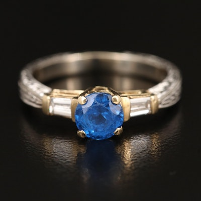 14K Spinel and Diamond Ring with Textured Shank