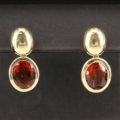 14K Garnet Dangle Earrings