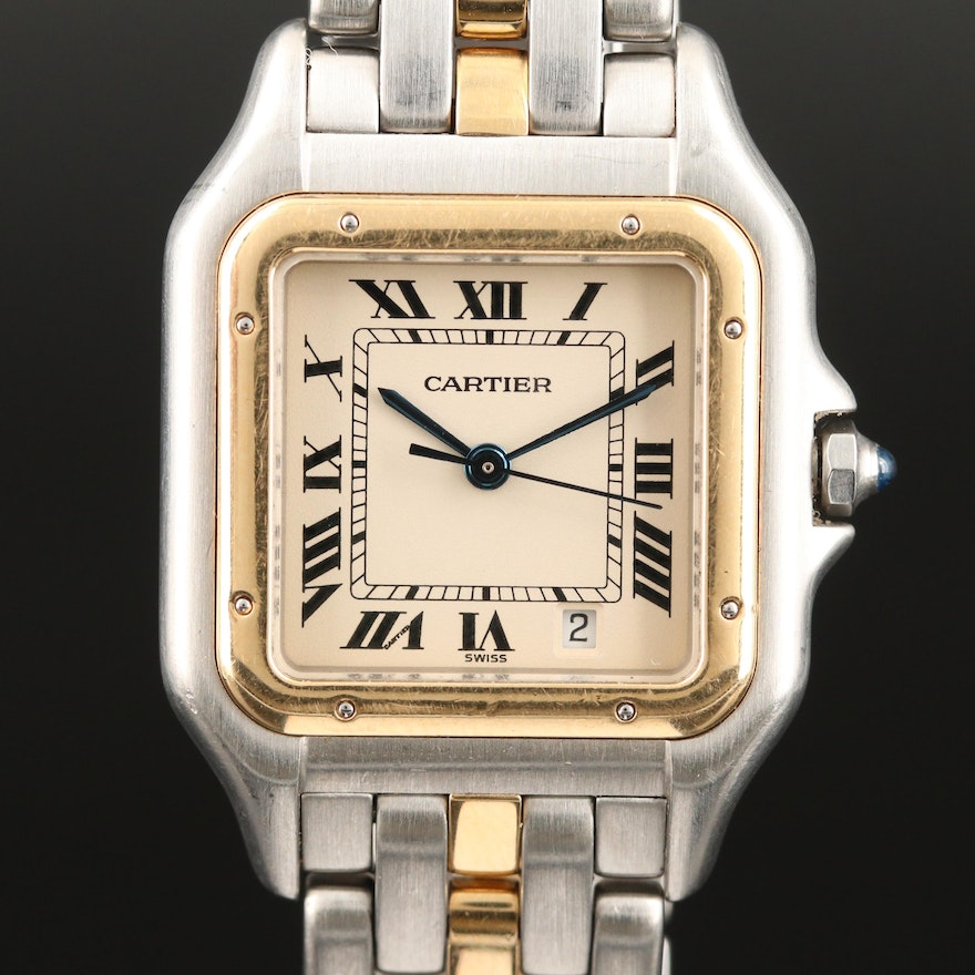 Cartier Panthere Midsize Stainless Steel and 18K Gold Quartz Wristwatch