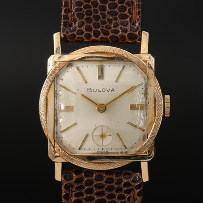 "1966 Bulova ""Counselor"" 10K Rose Gold Plated Stem Wind Wristwatch"