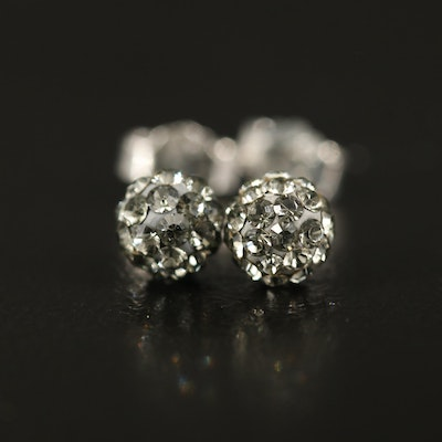 Sterling Rhinestone Stud Earrings