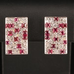 18K Pavé 3.12 CTW Diamond and Ruby Geometric Earrings