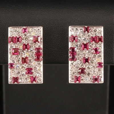 18K Pavé 3.12 CTW Diamond and Ruby Geometric Earrings