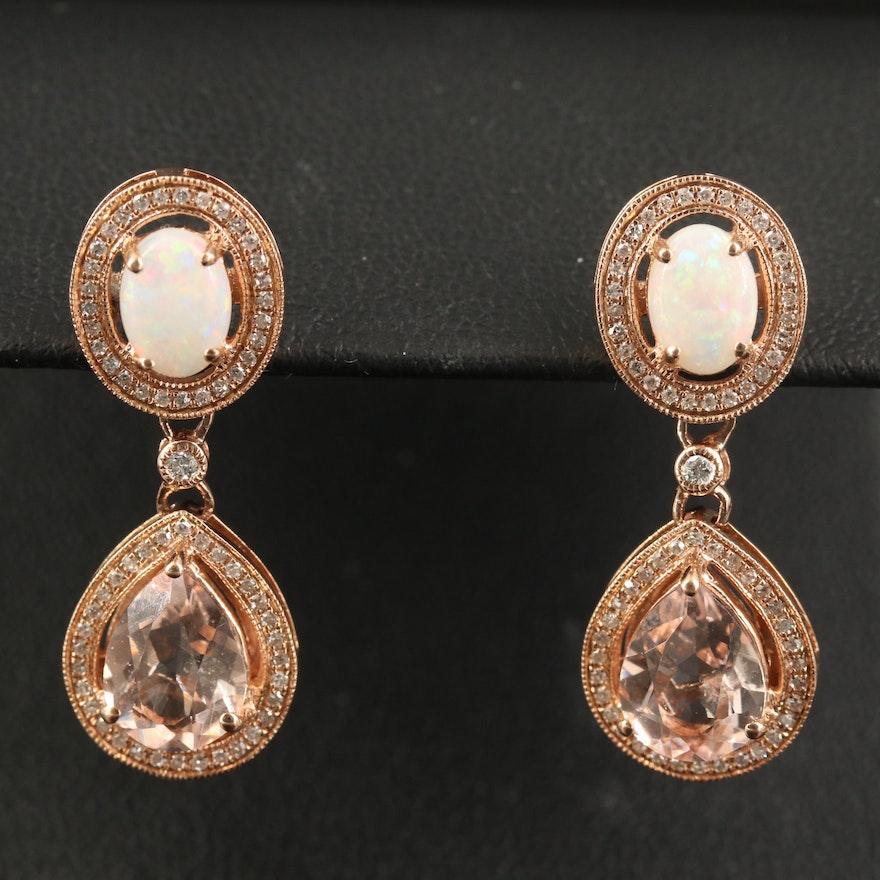 EFFY 14K Morganite, Opal and Diamond Dangle Earrings