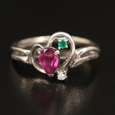 14K Ruby, Emerald and Diamond Ring