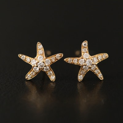 18K Diamond Starfish Stud Earrings