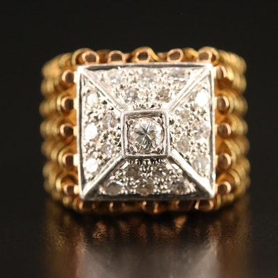 18K and Platinum Diamond Ring with Basket Weave Shoulders