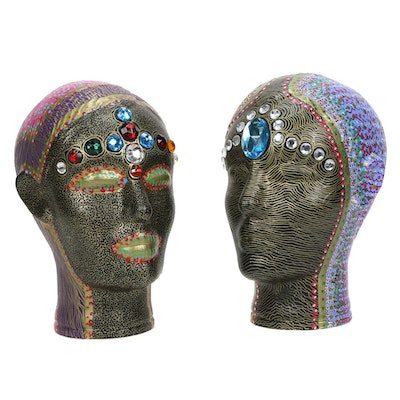 Hand-Painted Bejeweled Enamelled Busts