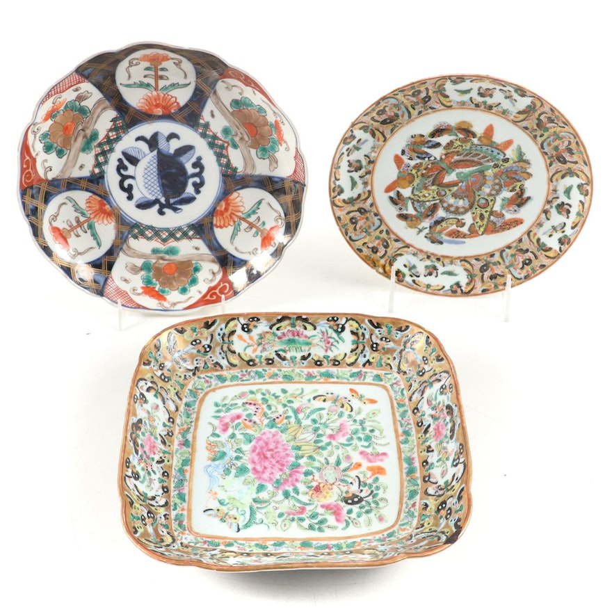 Chinese Export Thousand Butterfly Plate and Square Dish and Japanese Imari Plate