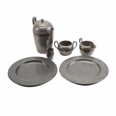 Pilgrim Pewter Tea Service and Other Pewter Tableware, Mid to Late 20th Century