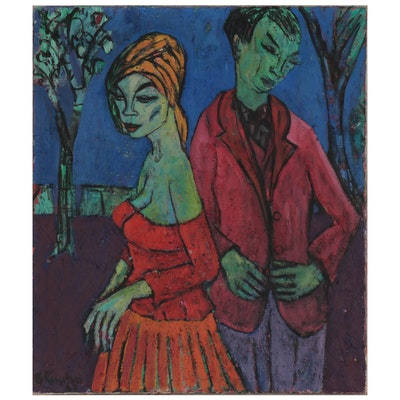 "Fauvist Style Figural Impasto Oil Painting ""The Parting,"" Mid-20th Century"