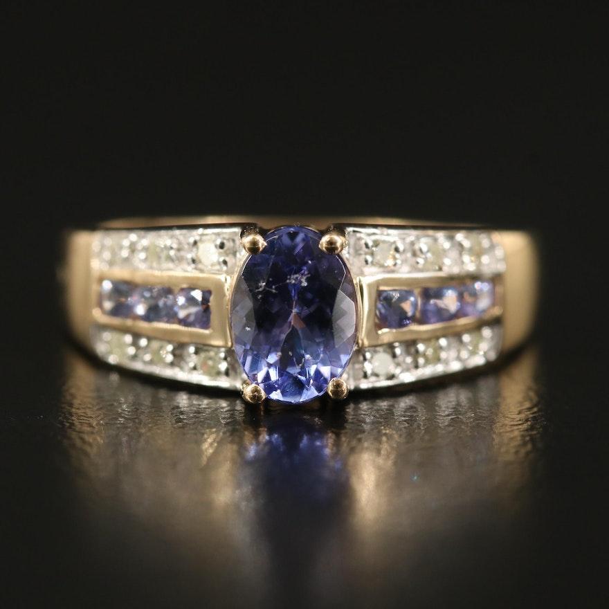 14K Tanzanite and Diamond Triple Row Ring