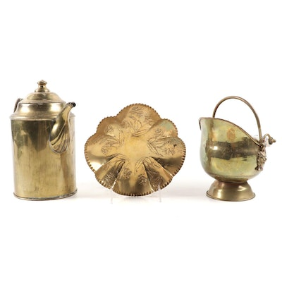 Dutch Brass Coal Ash Scuttle with Delft Handle and Other Metal Tableware