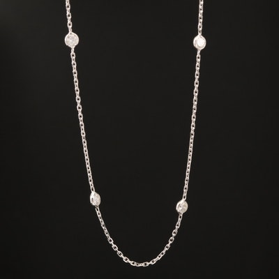 14K Diamond Station Necklace
