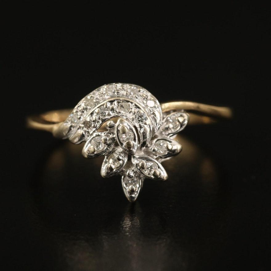 14K Diamond Cluster Ring