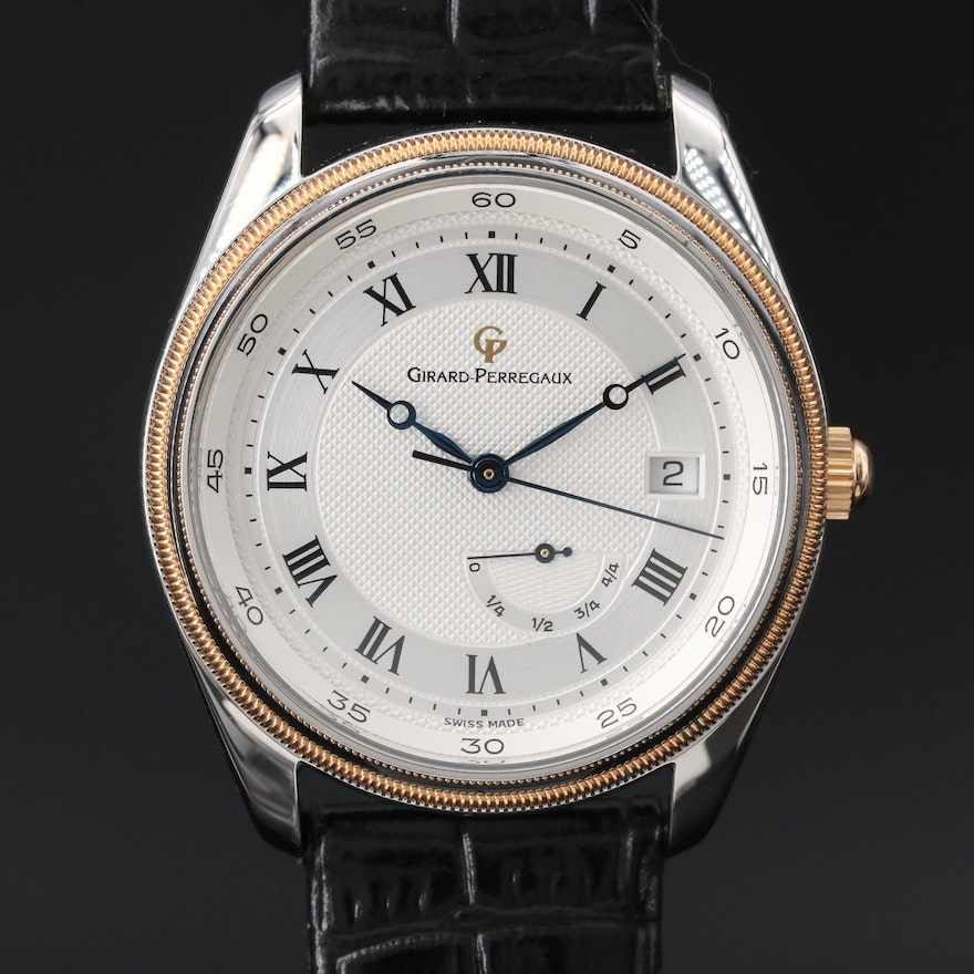 Girard Perregaux 18K Rose Gold and Stainless Steel Automatic Wristwatch