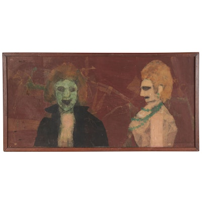 "Abstract Mixed Media Painting ""Sid and Nancy R.I.P,"" Mid-20th Century"