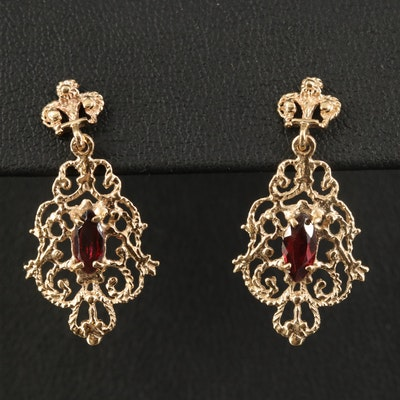 14K Garnet Openwork Dangle Earrings