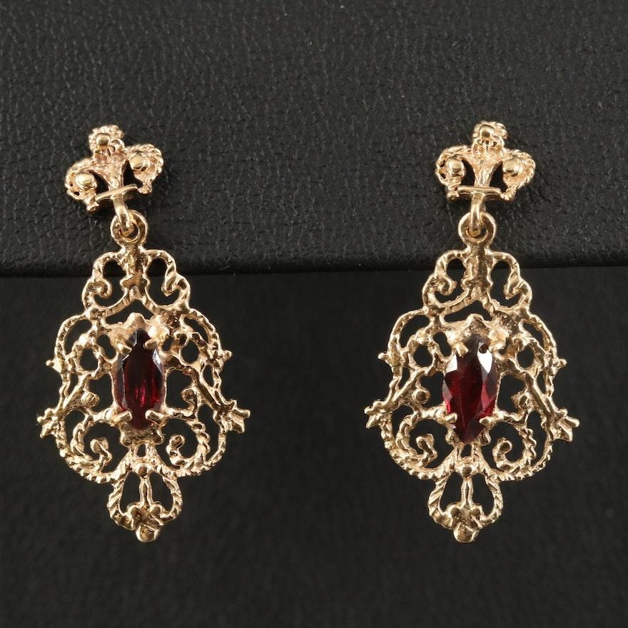 14K Garnet Openwork Dangle Earrings
