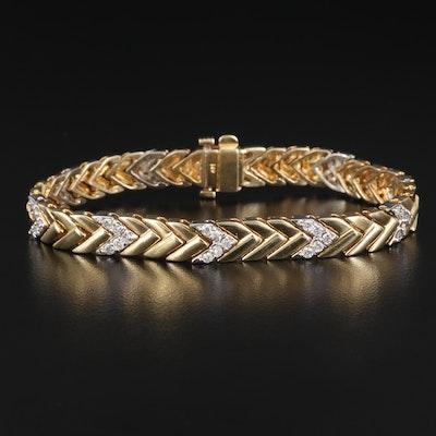 14K 1.50 CTW Diamond Chevron Link Bracelet