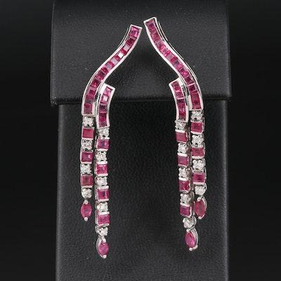 18K Ruby and Diamond Drop Earrings