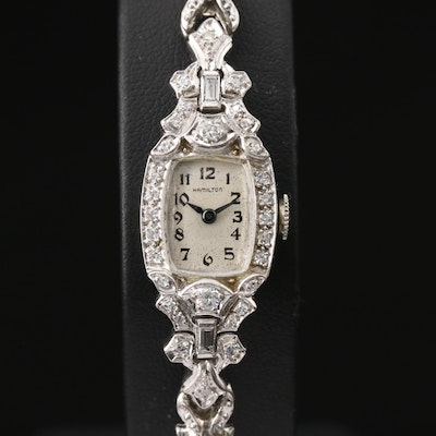 Platinum and Diamonds Hamilton Stem Wind Wristwatch