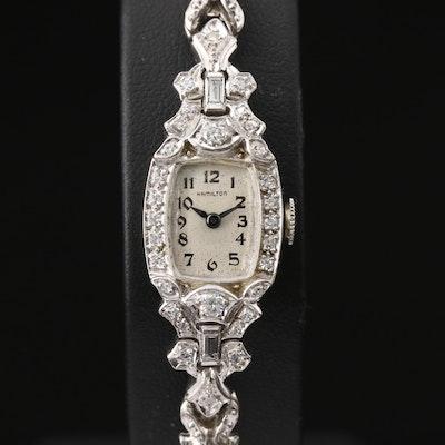 Platinum and Diamonds Hamilton Stem Wind Wristwatch