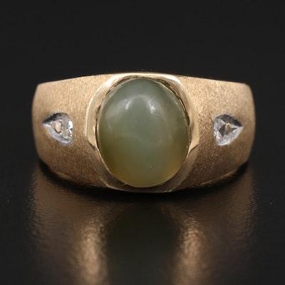 14K Cat's Eye Actinolite and Diamond Ring