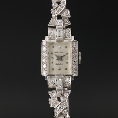 Avalon Platinum and 14K White Gold 1.80 CTW Diamond Wristwatch