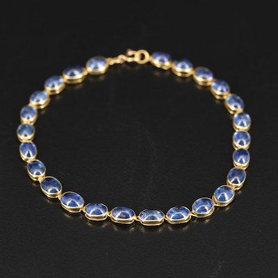 18K Oval Sapphire Cabochon Bracelet