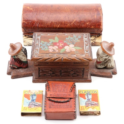 Mexican Leather Cigarette Box and Case and Carved Polychrome Cigarette Box