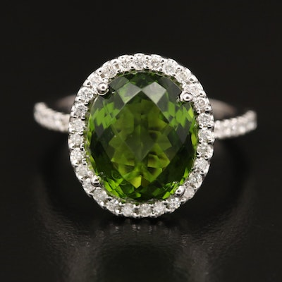 14K Glass Ring Accented by Diamond Lined Shoulders and Halo