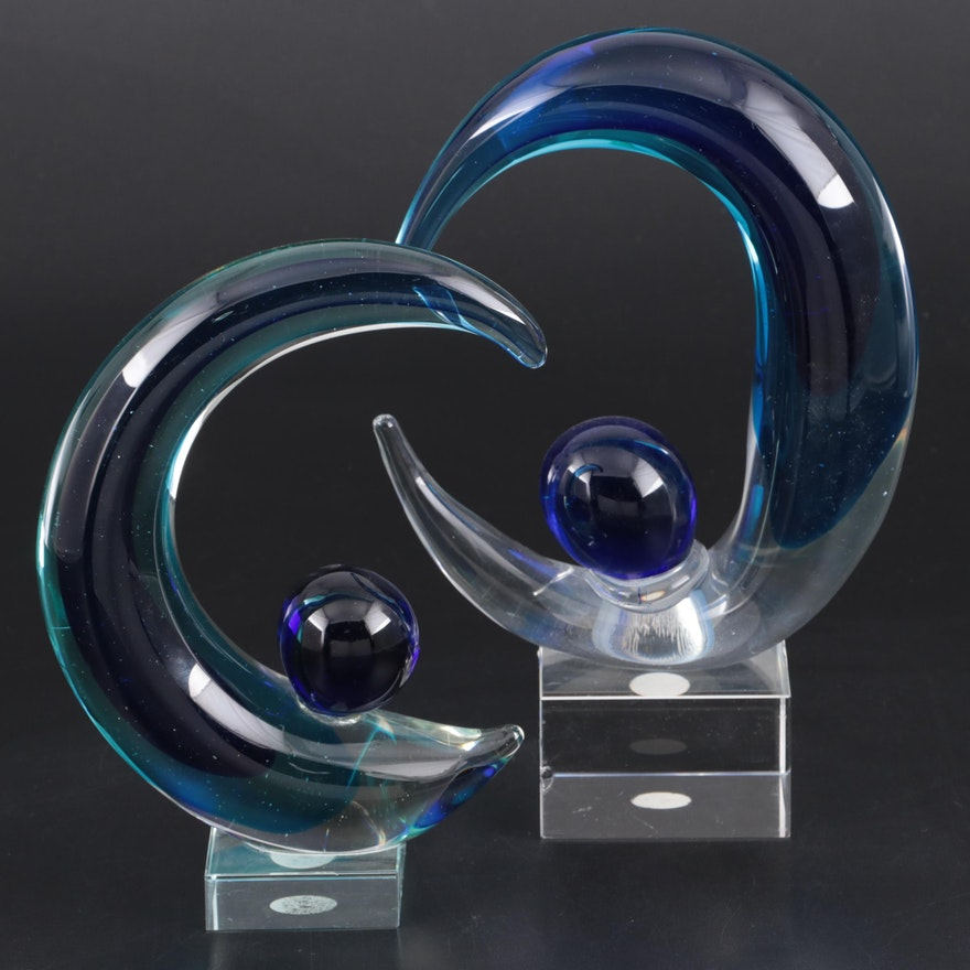 Murano Minchella Collection Art Glass Moon Figurines, Mid to Late 20th C.
