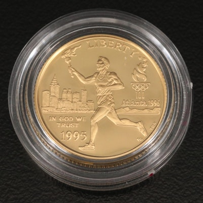 1995-W United States Olympic Torch Runner Commemorative $5 Gold Proof Coin