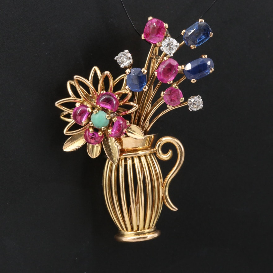 Vintage 18K Diamond and Gemstone Floral Vase Brooch