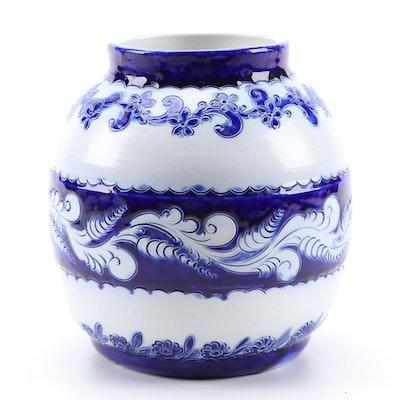 French Pottery Remmy M.M. Blue and White Salt Glazed Stoneware Vase